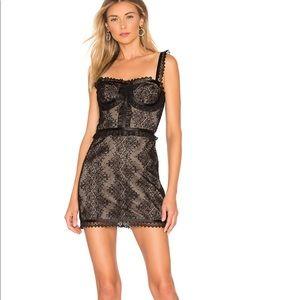 "NWT ALEXIS ""Kesi"" black nude lace dress XS"